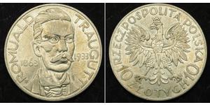 10 Zloty Second Polish Republic (1918 - 1939) Silver Romuald Traugutt
