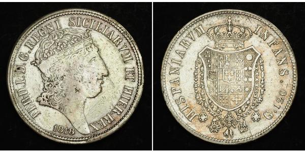 120 Grana Italian city-states Silver Ferdinand I of the Two Sicilies (1751 - 1825)