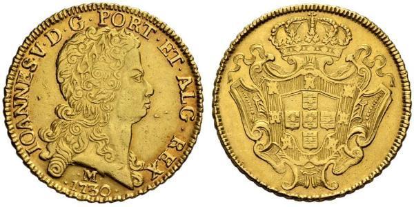 12800 Reis Brésil Or Jean V de Portugal (1689-1750)