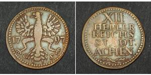 12 Heller Free Imperial City of Aachen (1306 - 1801) Copper
