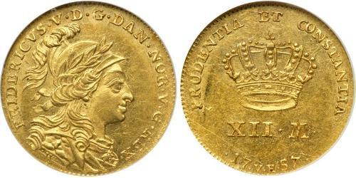 12 Mark Denmark-Norway (1536-1814) Gold Frederick V of Denmark (1723 - 1766)