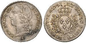 12 Sol Kingdom of France (843-1791) Silver Louis XV of France(1710-1774)