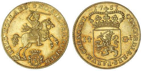 14 Гульден Республика Соединённых провинций (1581 - 1795) Золото