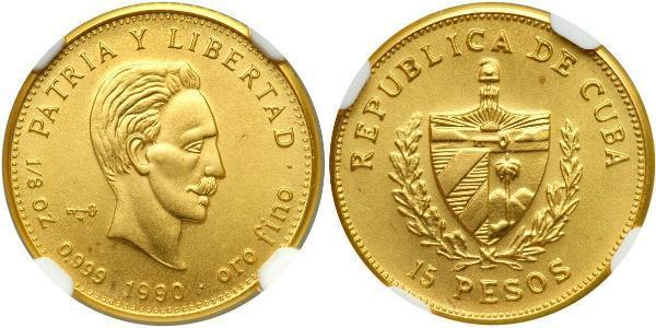 15 Песо Куба Золото Jose Julian Marti Perez (1853 - 1895)