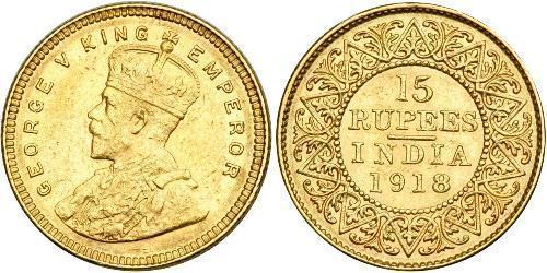 15 Рупія Британська Індія (1858-1947) Золото Георг V (1865-1936)