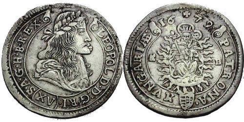 15 Kreuzer Royaume de Hongrie (1000-1918) Argent Léopold Ier de Habsbourg(1640-1705)