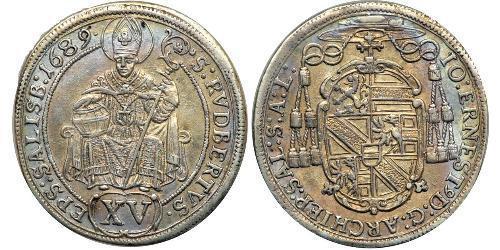 15 Kreuzer Sacro Imperio Romano (962-1806) Plata