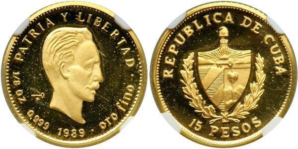15 Peso Cuba Gold Jose Julian Marti Perez (1853 - 1895)