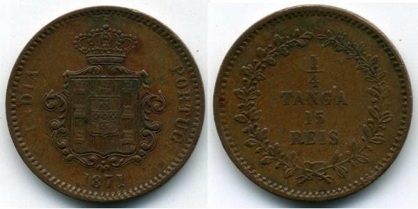 15 Reis / 1/4 Tanga Portuguese India (1510-1961) Copper