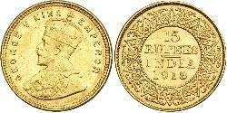 15 Rupee British Raj (1858-1947) Gold George V of the United Kingdom (1865-1936)