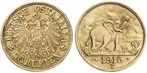 15 Rupee German East Africa (1885-1919) Gold