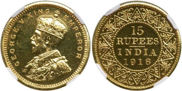 15 Rupee Raj Britannico (1858-1947) Oro Giorgio V (1865-1936)