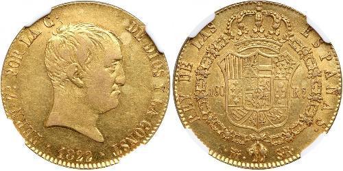160 Real Kingdom of Spain (1814 - 1873) Gold Ferdinand VII. von Spanien (1784-1833)