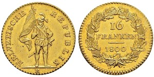 16 Франк Швейцария Золото
