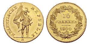 16 Франк Швейцарія Золото