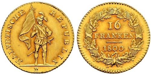 16 Franc Suiza Oro