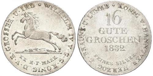 16 Groschen Ганновер Серебро Вильгельм IV (1765-1837)