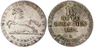 16 Groschen Ганновер Срібло Вільгельм IV (1765-1837)