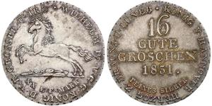 16 Groschen Hanovre Argent Guillaume IV (1765-1837)