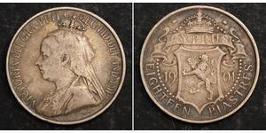 18 Piastre British Cyprus (1878 - 1960) Argent Victoria (1819 - 1901)