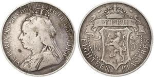 18 Piastre British Cyprus (1878 - 1960) Argento Vittoria (1819 - 1901)