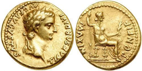1 Áureo Imperio romano (27BC-395) Oro Tiberio Claudio Nerón (42 BC-37)