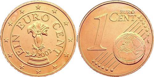 1 Євроцент Австрійська Республіка (1955 - ) Мідь