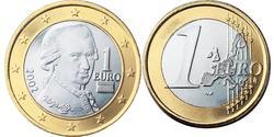 1 Євро Австрійська Республіка (1955 - ) Нікель/Мідь Вольфганг Амадей Моцарт
