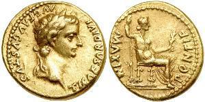 1 Ауреус Римская империя (27BC-395) Золото Тиберий Клавдий Нерон (42 BC-37)