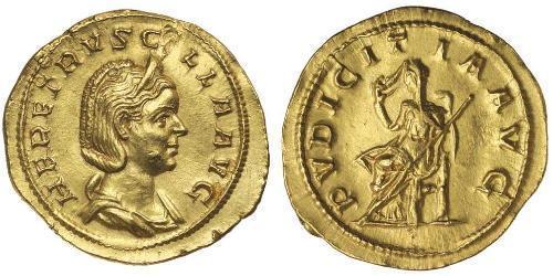 1 Ауреус Римская империя (27BC-395) Золото Herennia Etruscilla (249-251)