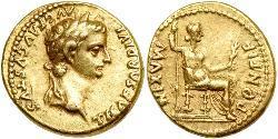 1 Ауреус Римська імперія (27BC-395) Золото Тиберій Клавдій Нерон (42 BC-37)