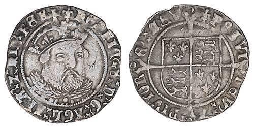 1 Гроут Королевство Англия (927-1649,1660-1707) Серебро Генрих VIII (1491 - 1547)