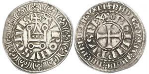 1 Гроут Франція Срібло Філіп IV король Франції (1268 -1314)