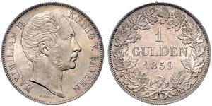 1 Гульден Королевство Бавария (1806 - 1918) Серебро Максимилиан II (король Баварии)(1811 - 1864)