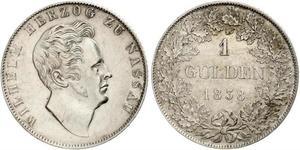 1 Гульден Нассау (герцогство) (1806 - 1866) Серебро Вильгельм I (герцог Нассау)