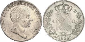 1 Гульден Велике герцогство Баден (1806-1918) Срібло Louis I, Grand Duke of Baden (1763 - 1830)