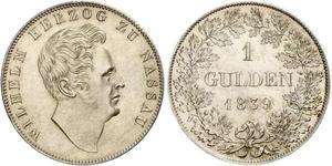 1 Гульден Герцогство Нассау (1806 - 1866) Срібло Вільгельм (герцог Нассау)