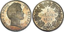 1 Гульден Королівство Баварія (1806 - 1918) Срібло Людвиг I (король Баварії)(1786 – 1868)