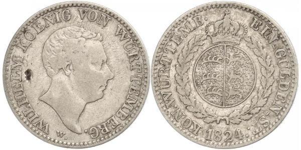 1 Гульден Королівство Вюртемберг Срібло William I of Württemberg