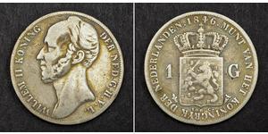 1 Гульден Королівство Нідерланди (1815 - ) Срібло William II of the Netherlands (1792 - 1849)