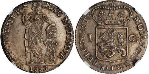 1 Гульден / 20 Стивер Королевство Нидерланды (1815 - ) Серебро