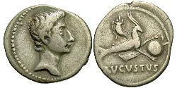 1 Денарий Римская империя (27BC-395) Серебро Октавиан Август (63BC- 14)