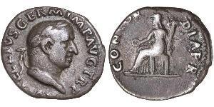 1 Денарий Римская империя (27BC-395) Серебро Вителлий (15-69)
