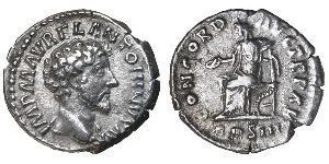 1 Денарий Римская империя (27BC-395) Серебро Марк Аврелий (121-180)