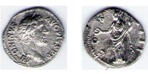 1 Денарий Римская империя (27BC-395) Серебро Антонин Пий  (86-161)
