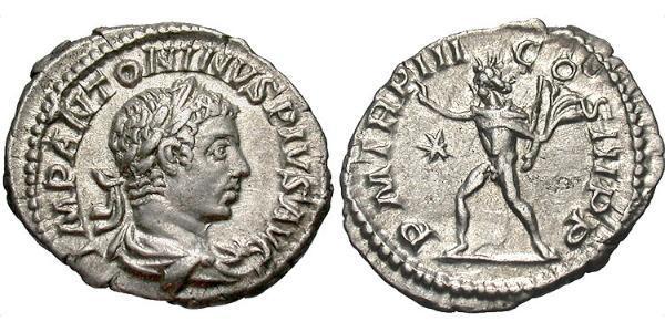 1 Денарий Римская империя (27BC-395) Серебро Гелиогабал (203-222)