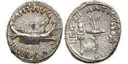 1 Денарий Римская республика (509BC-27BC) Серебро Марк Антоний (83BC-30BC)