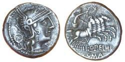 1 Денарий Римская республика (509BC-27BC) Серебро Луций Опимий