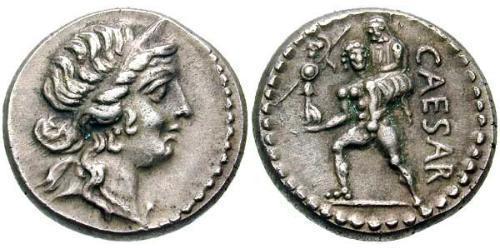 1 Денарий Римская республика (509BC-27BC) Серебро Юлий Цезарь (100BC- 44 BC)