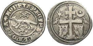 1 Денарий Хорватия Серебро Бела IV (1206 - 1270)(1206 - 1270)